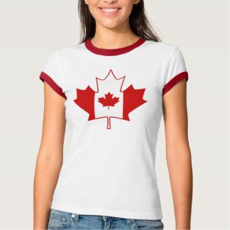 Canada Flag in Maple Leaf - Womens White TShirt