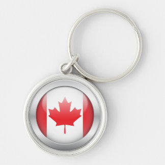 Canada Flag in Orb Silver-Colored Round Keychain