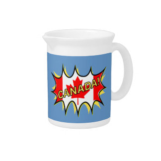 Canada Flag Kapow Comic Style Star Drink Pitcher
