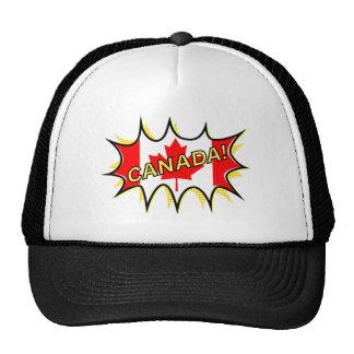 Canada Flag Kapow Comic Style Star Trucker Hat