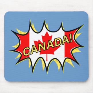 Canada Flag Kapow Comic Style Star Mouse Pad
