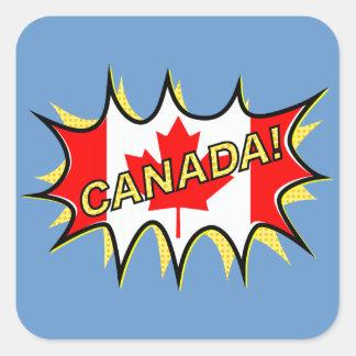 Canada Flag Kapow Comic Style Star Square Sticker