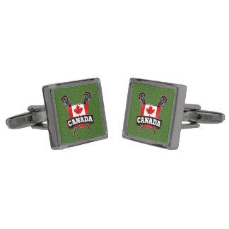 Canada Flag Lacrosse Logo Gunmetal Finish Cufflinks
