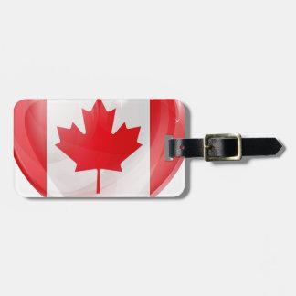 Canada flag love heart bag tag