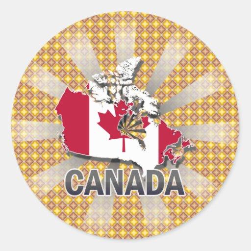 Canada Flag Map 2.0 Classic Round Sticker