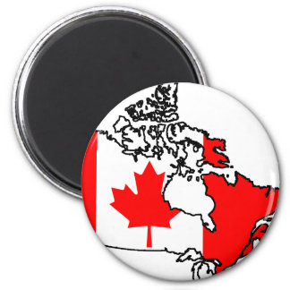 canada flag map 2 inch round magnet
