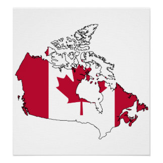 Canada Flag Map full size Poster