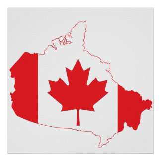 Canada Flag Map Poster