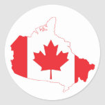 Canada Flag Map Round Sticker
