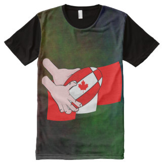 Canada Flag Maple leaf Rugby Ball All-Over Print Shirt