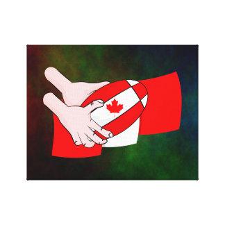 Canada Flag Maple leaf Rugby Ball Canvas Print