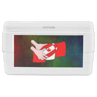 Canada Flag Maple leaf Rugby Ball Chest Cooler