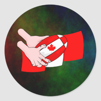 Canada Flag Maple leaf Rugby Ball Classic Round Sticker