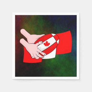 Canada Flag Maple leaf Rugby Ball Napkin