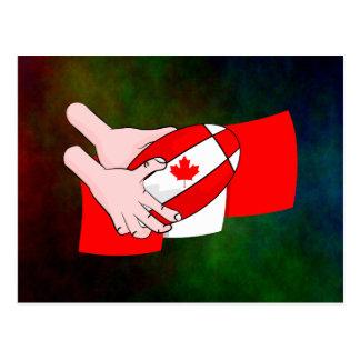 Canada Flag Maple leaf Rugby Ball Postcard