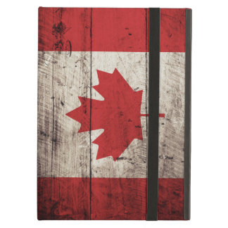 Canada Flag on Old Wood Grain Cover For iPad Air