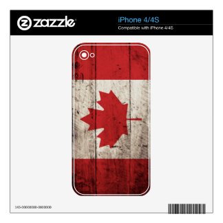 Canada Flag on Old Wood Grain Decals For The iPhone 4