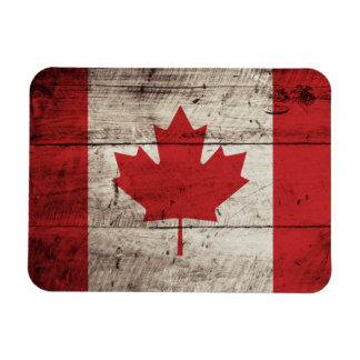 Canada Flag on Old Wood Grain Magnet