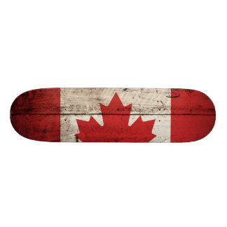Canada Flag on Old Wood Grain Skateboard