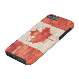 Canada Flag on Wood Tough iPhone 6 Case
