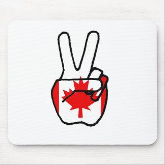 Canada Flag Peace Symbol Hand Mouse Pad