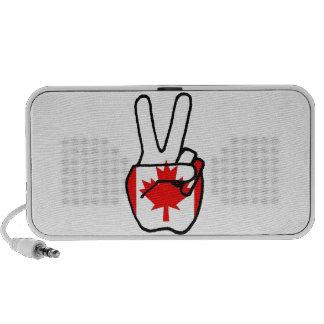 Canada Flag Peace Symbol Hand Travelling Speaker