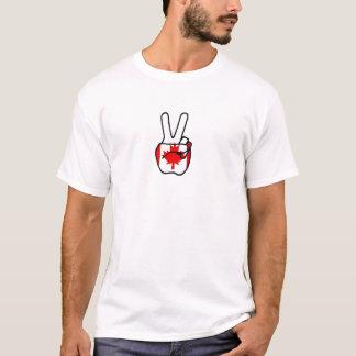 Canada Flag Peace Symbol Hand T-Shirt