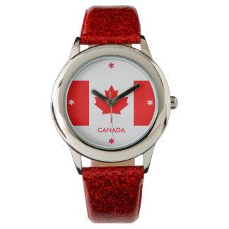 Canada Flag Red Glitter Phone Wrist Watch