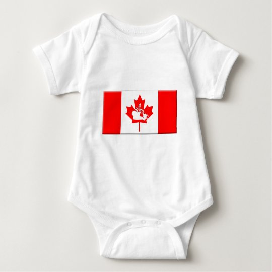 canada-flag-shape-beds baby bodysuit