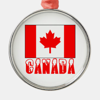 Canada Flag Snow Capped Word Ornaments