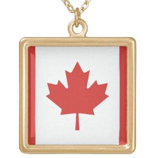 Canada Flag Square Pendant Necklace