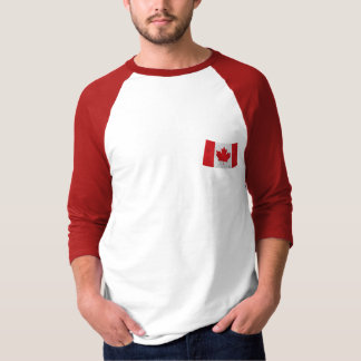Canada flag vintage grunge three quarter t-shirt