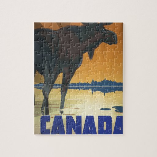Canada for Big Game Vintage Travel Poster Jigsaw Puzzles