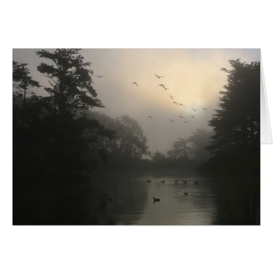 Canada Geese and Morning Fog Card