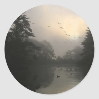 Canada Geese and Morning Fog Classic Round Sticker