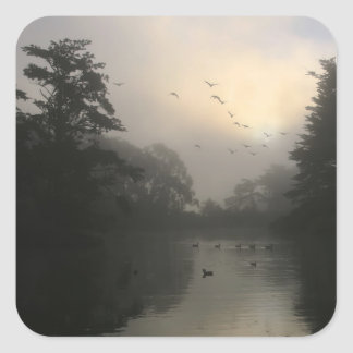 Canada Geese and Morning Fog Square Sticker