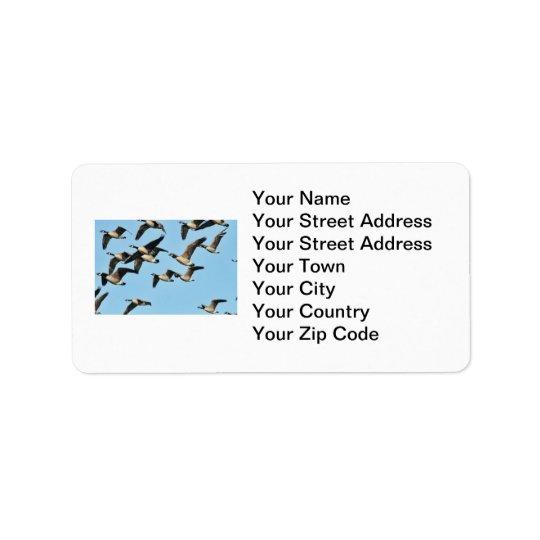 Canada Geese Flock in Flight Label