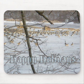 Canada Geese Happy Holidays Mousepad