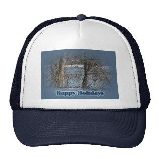 Canada Geese on Green Lane Reservoir Happy Holiday Trucker Hat