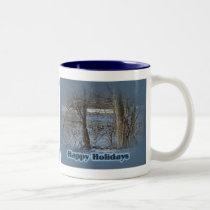 Canada Geese on Green Lane Reservoir Happy Holiday Two-Tone Coffee Mug