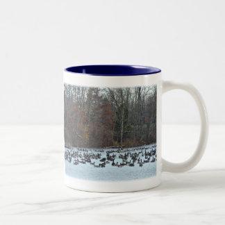 Canada Geese on Green Lane Reservoir Two-Tone Coffee Mug