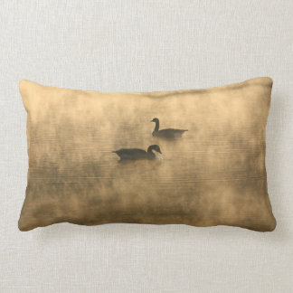 canada geese on the river by sunrise pillow