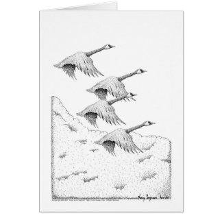 Canada Geese Pen and Ink Card