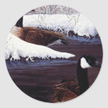 Canada geese round stickers