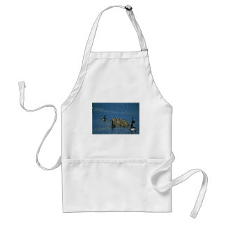 Canada geese with goslings apron