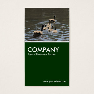 Canada Geese with Goslings - Dark Green Business Card
