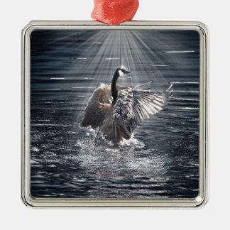 Canada Goose Bathing in a Lake Art Design Metal Ornament