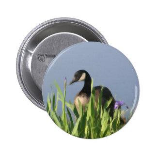 Canada Goose Irises Animal Art Button