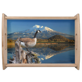 CANADA GOOSE ON THE LAKE SERVING TRAYS