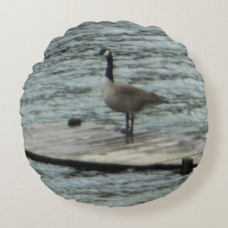 Canada Goose Standing Dock Round Pillow